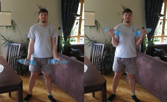 ćwiczenia na biceps w domu z butelkami